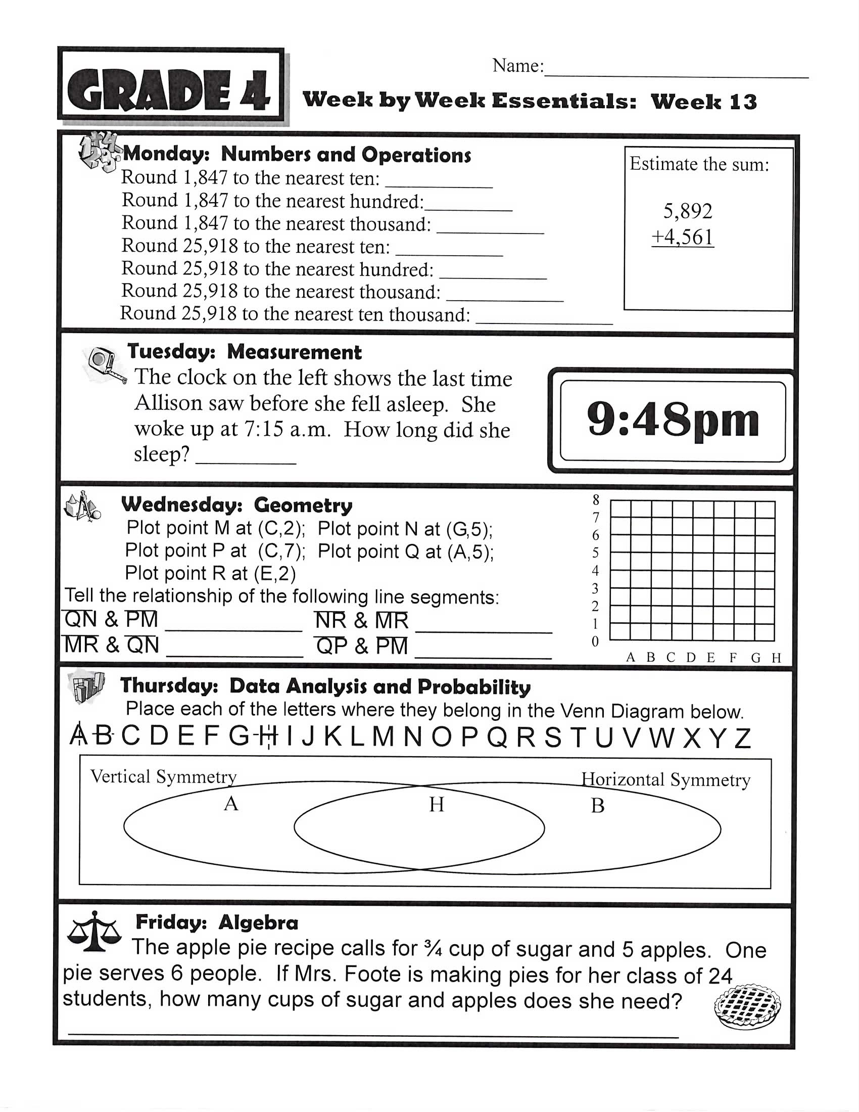 Homework Sheets To Print
