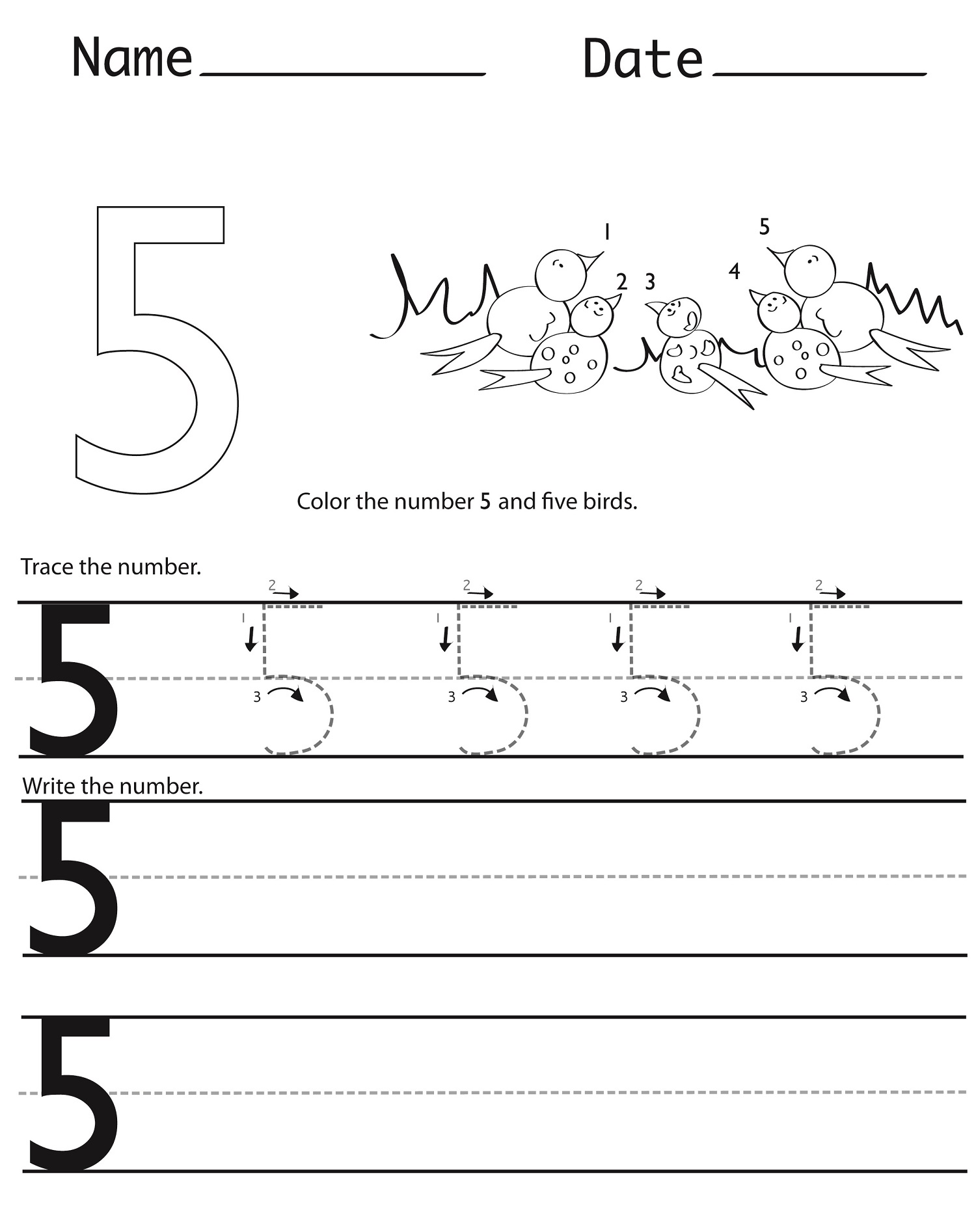 Number 5 Worksheet For Kindergarten