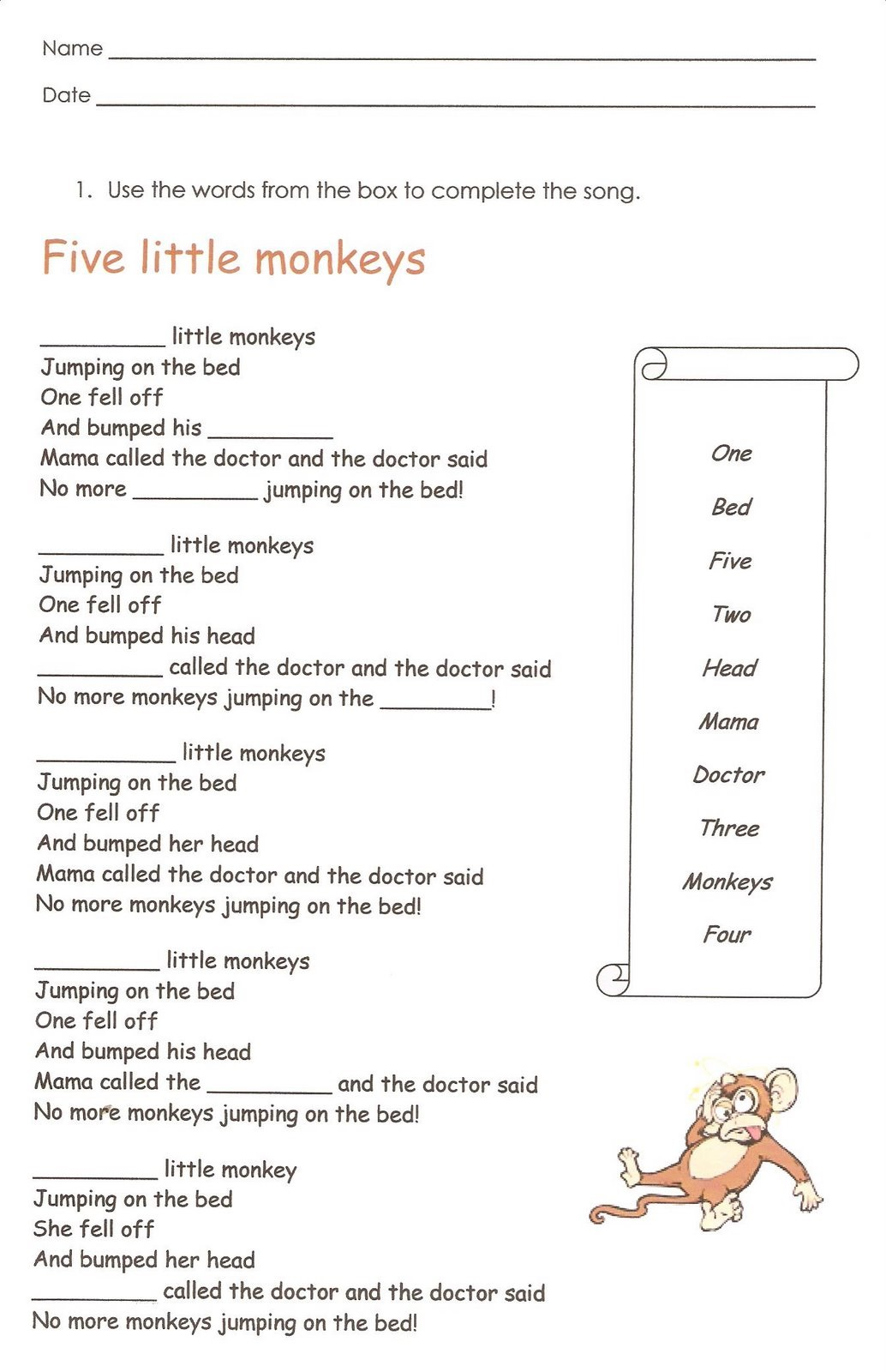 First Grade English Worksheets Free