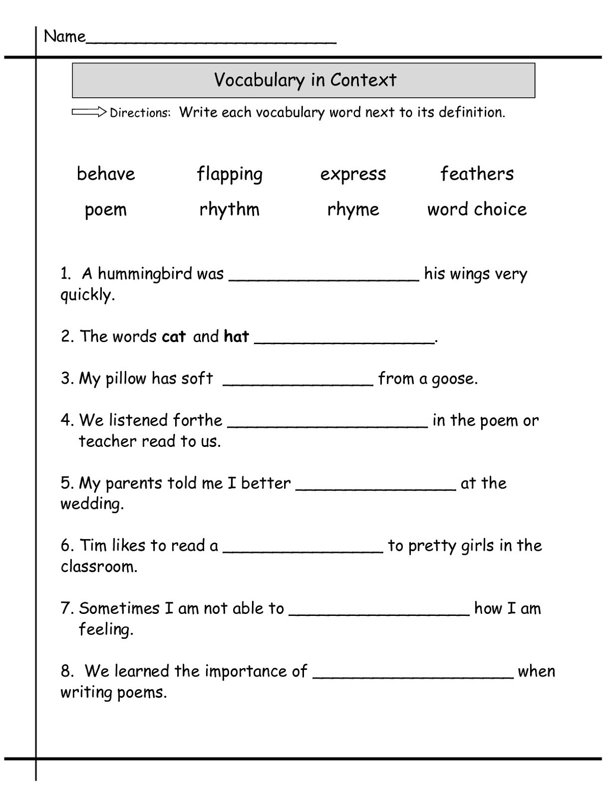 Printable Language Worksheets For 1st To 4th Grade