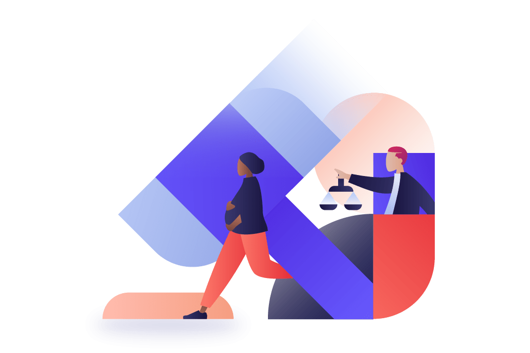 Geometric illustration of diverse workers interacting with a gavel background