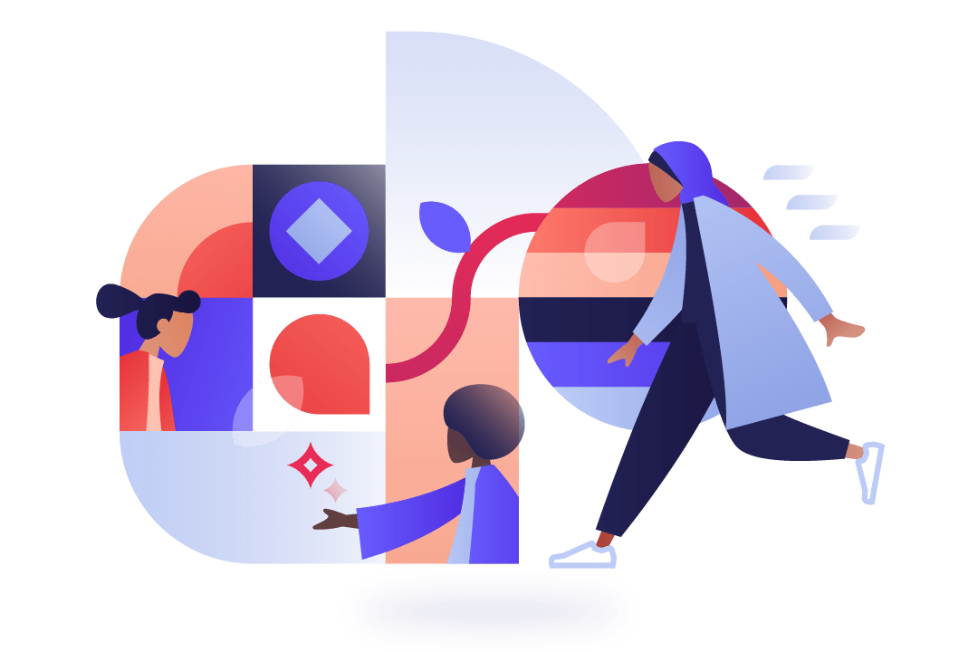 Geometric illustration of diverse workers moving swiftly and connected