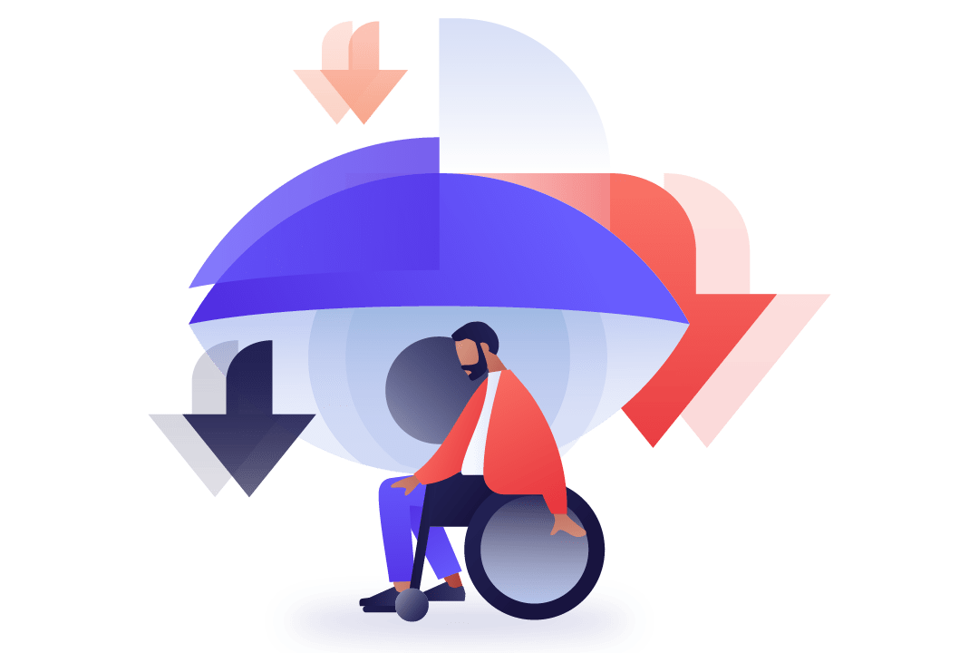 Geometric illustration of a man in a wheelchair with sad eye in the background looking down