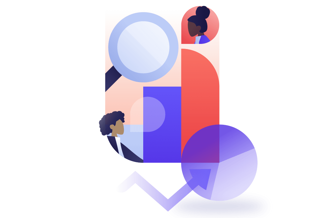 Geometric illustration of diverse workers on a background that features graphs and a magnifying glass