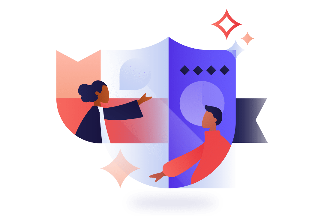 Geometric illustration of diverse workers on a shield background