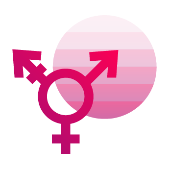 Sexual Expression & Gender Identity Icon showing gender symbol, pride flag