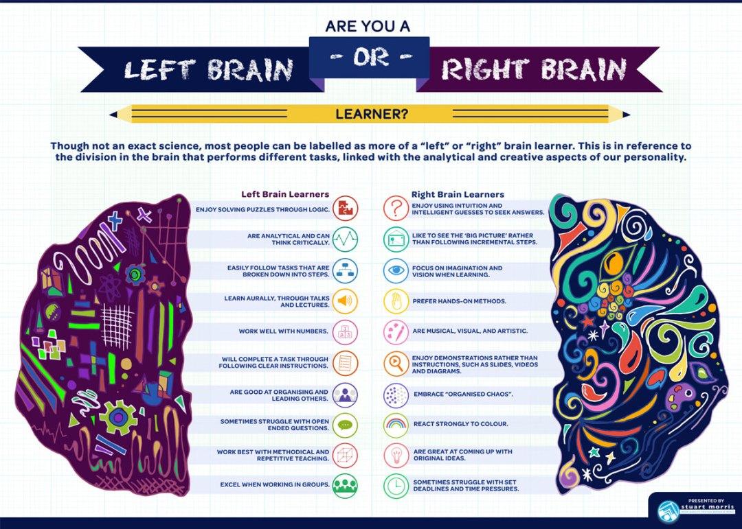 Stuart Morris - Left and Right brain infographic