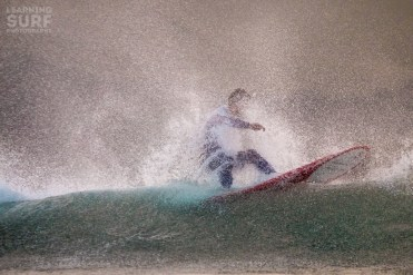 Shaun englufed in the offshore spray