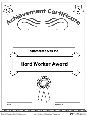 Certificate Awards: Remarkable Effort Certificate