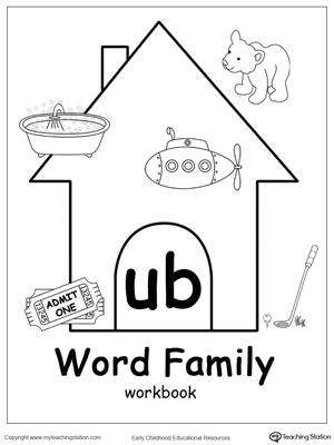 UB Word Family Workbook for Kindergarten
