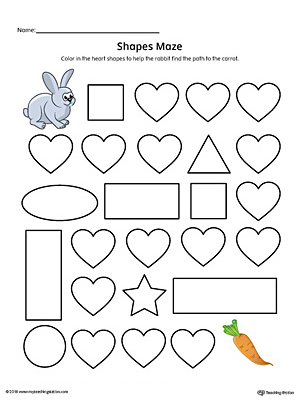 Heart Shape Maze Printable Worksheet (Color