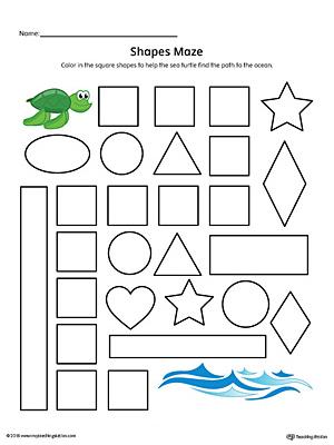 Heart Shape Maze Printable Worksheet (Color