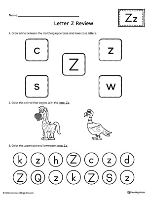 Alphabet Letter Hunt: Letter Z Worksheet