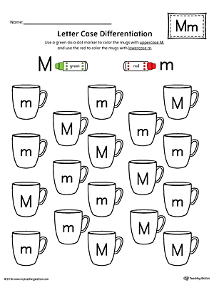 Letter M Uppercase and Lowercase Matching Worksheet