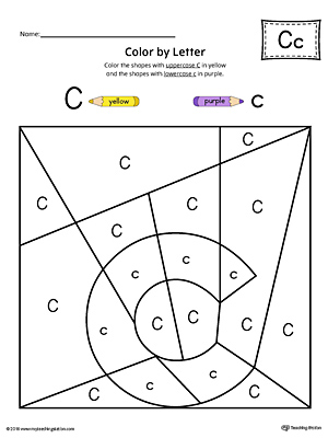 Trace Letter C and Connect Pictures Worksheet (Color