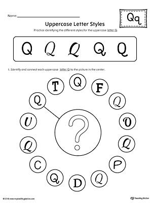 Picture Letter Match: Letter Q Worksheet