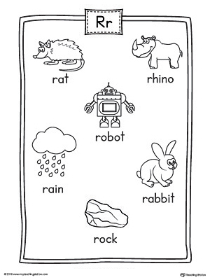 Letter R Word List with Illustrations Printable Poster