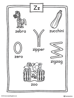 Letter Z Word List with Illustrations Printable Poster