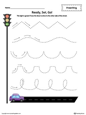 Car Racing Line Tracing Prewriting Worksheet in Color
