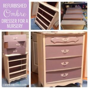 Custom refurbished ombre dresser for a nursery.