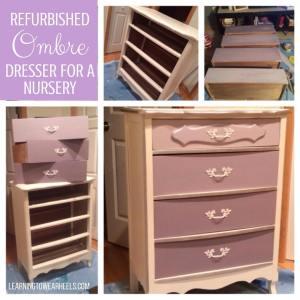 Custom refurbished ombre dresser for a nursery.