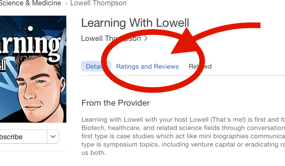 Write a review on Itunes or Stitcher | Learning With Lowell