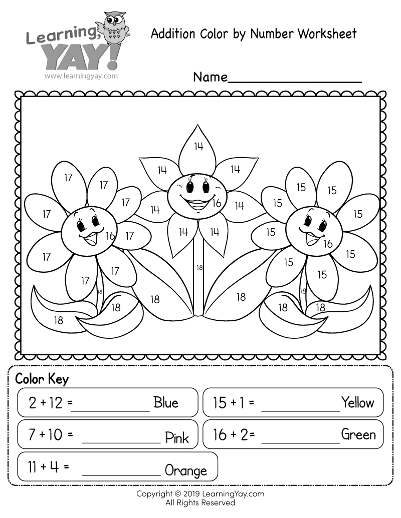 medium resolution of Addition Color by Number Worksheet for 1st Grade (Free Printable)