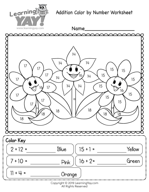 small resolution of Addition Color by Number Worksheet for 1st Grade (Free Printable)