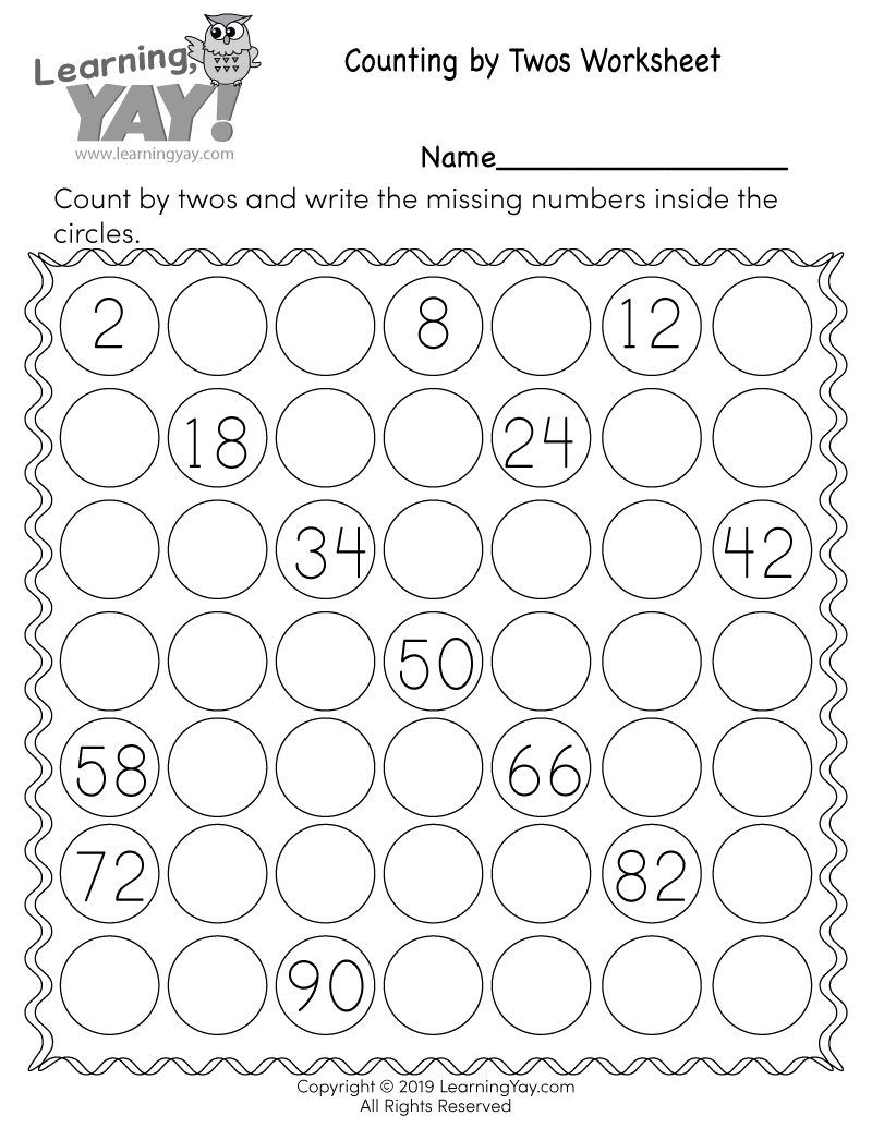 Skip Counting by 2s Worksheet for 1st Grade (Free Printable)