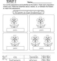 Preposition Activity Worksheet for 1st Grade (Free Printable) [ 1035 x 800 Pixel ]