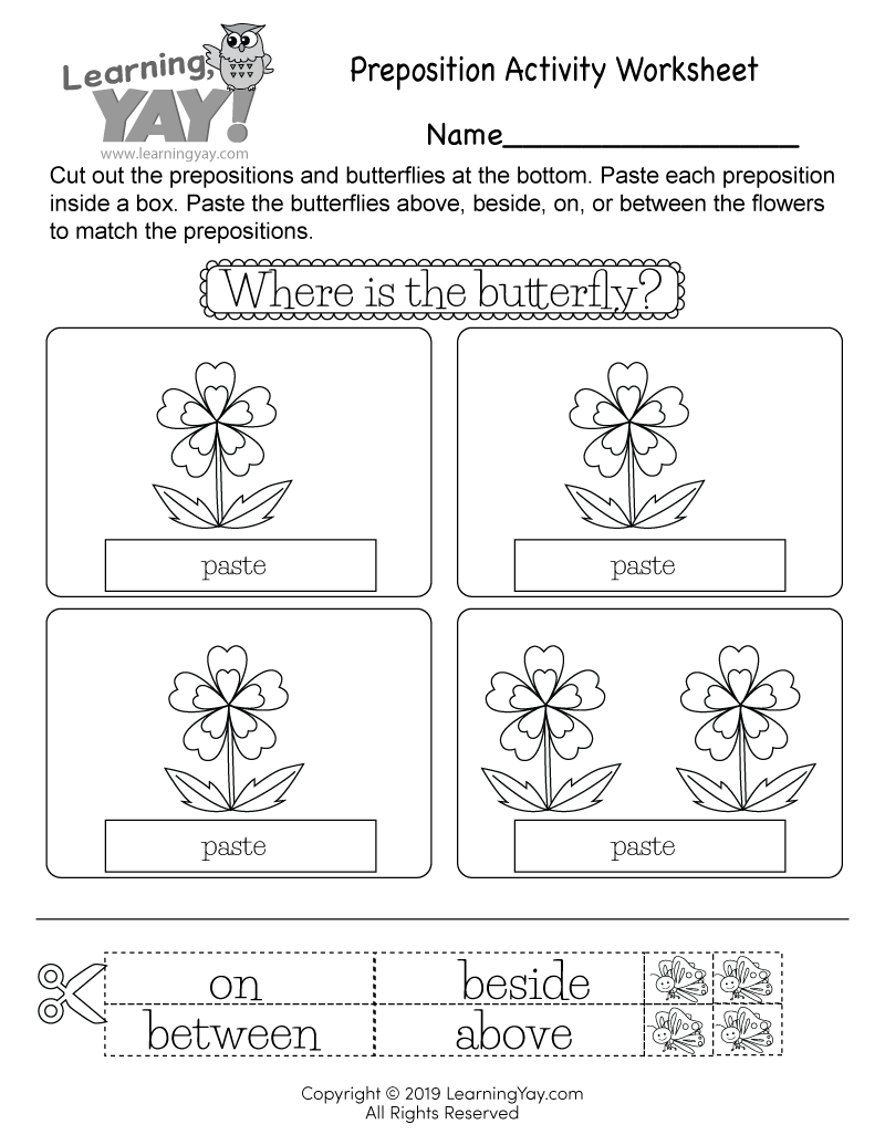 medium resolution of Preposition Activity Worksheet for 1st Grade (Free Printable)