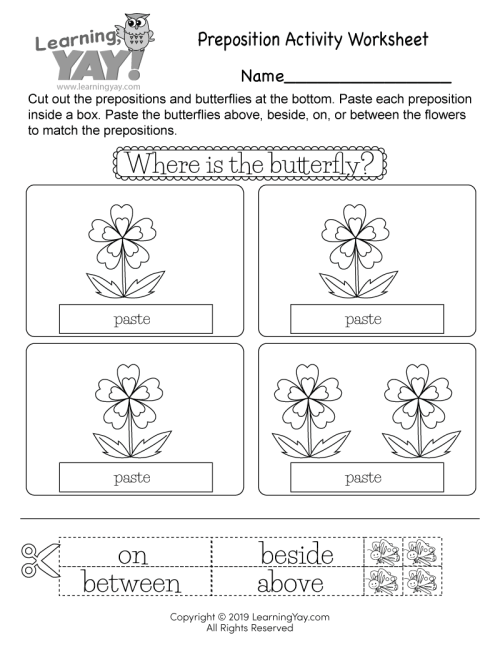 small resolution of Preposition Activity Worksheet for 1st Grade (Free Printable)