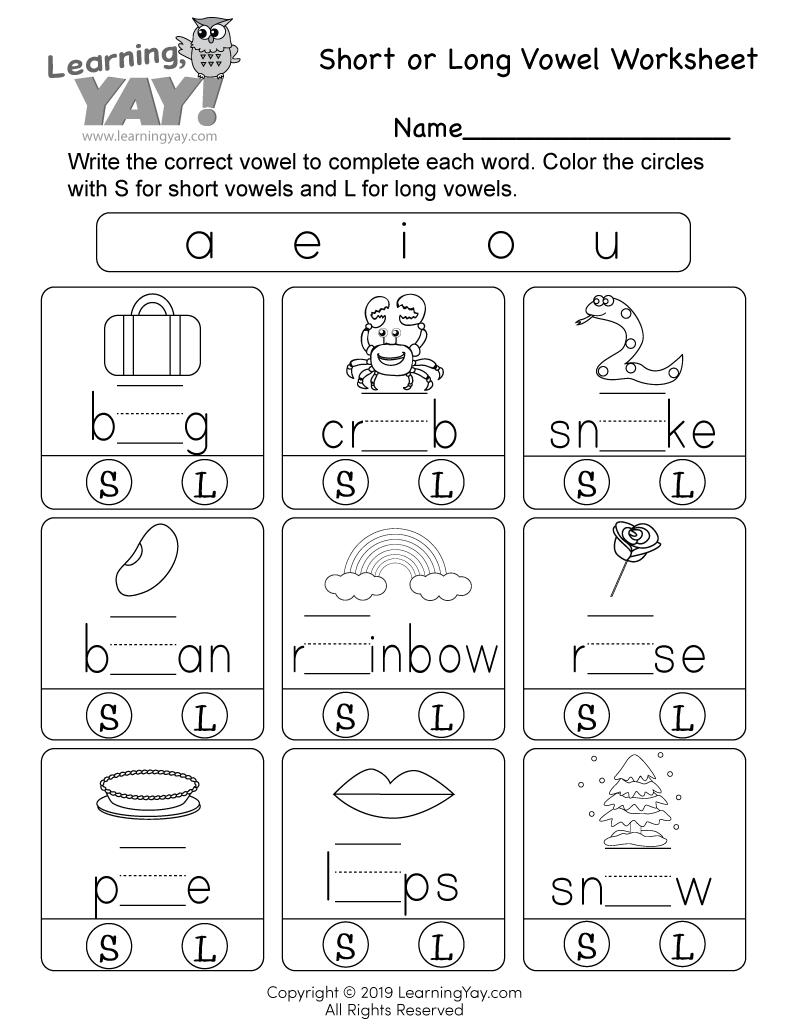 hight resolution of Short or Long Vowel Worksheet for 1st Grade (Free Printable)