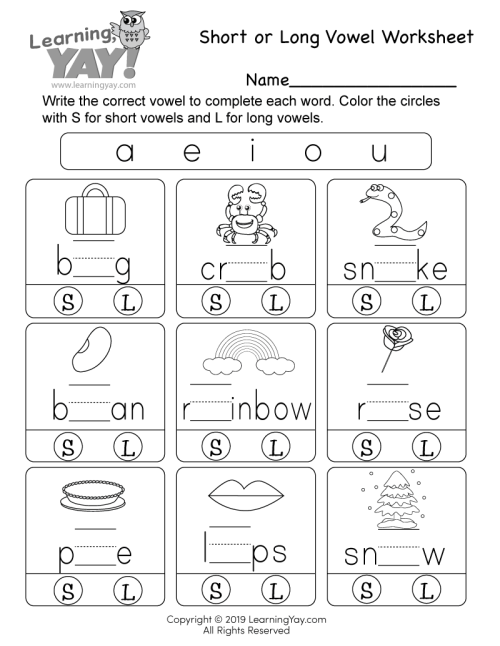 small resolution of Short or Long Vowel Worksheet for 1st Grade (Free Printable)