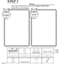 Sorting Singular and Plural Nouns Worksheet for 1st Grade (Free Printable) [ 1035 x 800 Pixel ]