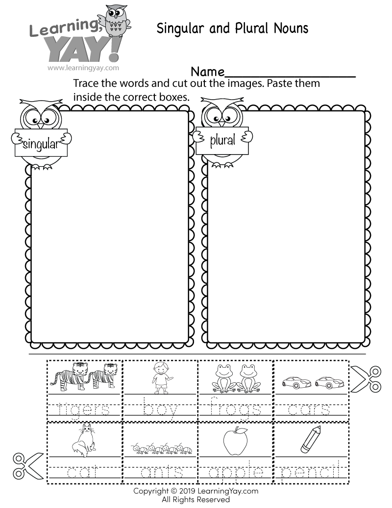 medium resolution of Sorting Singular and Plural Nouns Worksheet for 1st Grade (Free Printable)