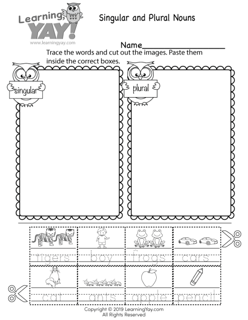 small resolution of Sorting Singular and Plural Nouns Worksheet for 1st Grade (Free Printable)