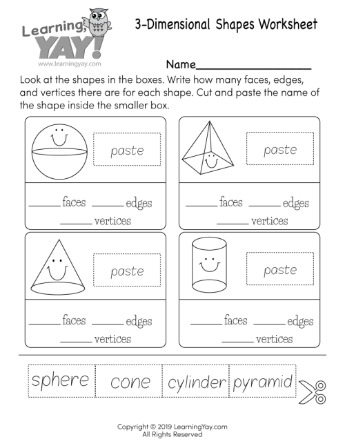 small resolution of 3-Dimensional Shapes Worksheet for 1st Grade (Free Printable)