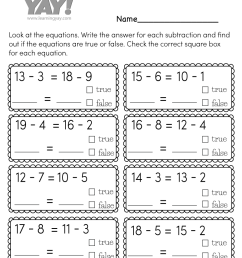True or False Subtraction Worksheet for 1st Grade (Free Printable) [ 1035 x 800 Pixel ]