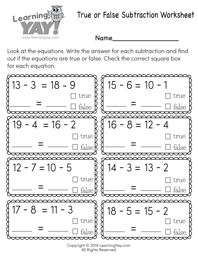 hight resolution of True or False Subtraction Worksheet for 1st Grade (Free Printable)