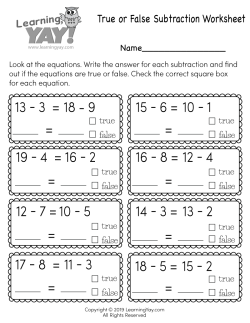 small resolution of True or False Subtraction Worksheet for 1st Grade (Free Printable)