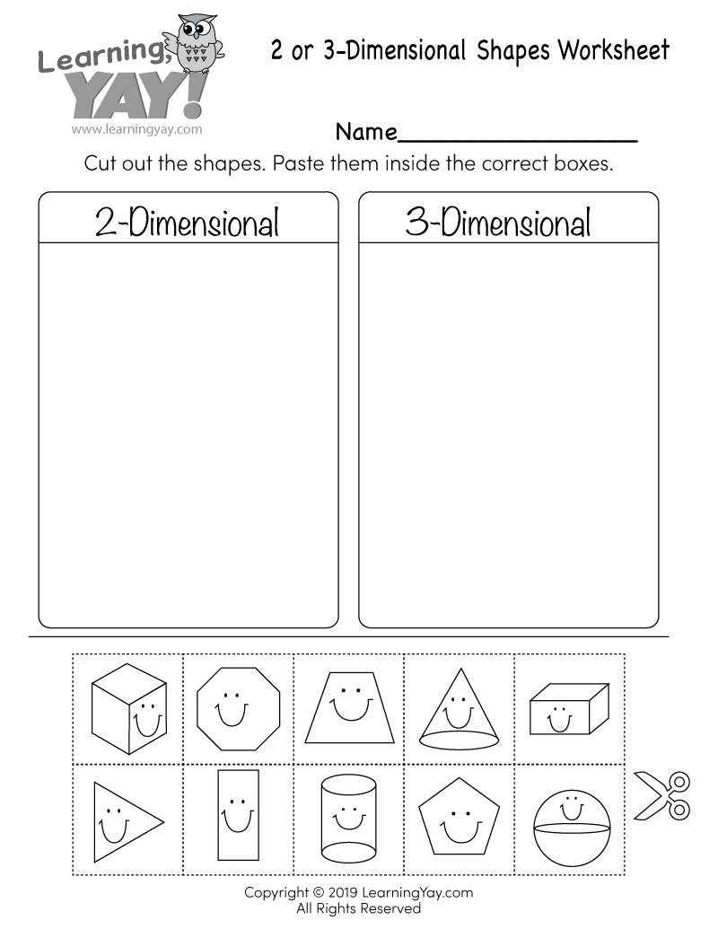 hight resolution of Sorting 2D and 3D Shapes Worksheet for 1st Grade (Free Printable)