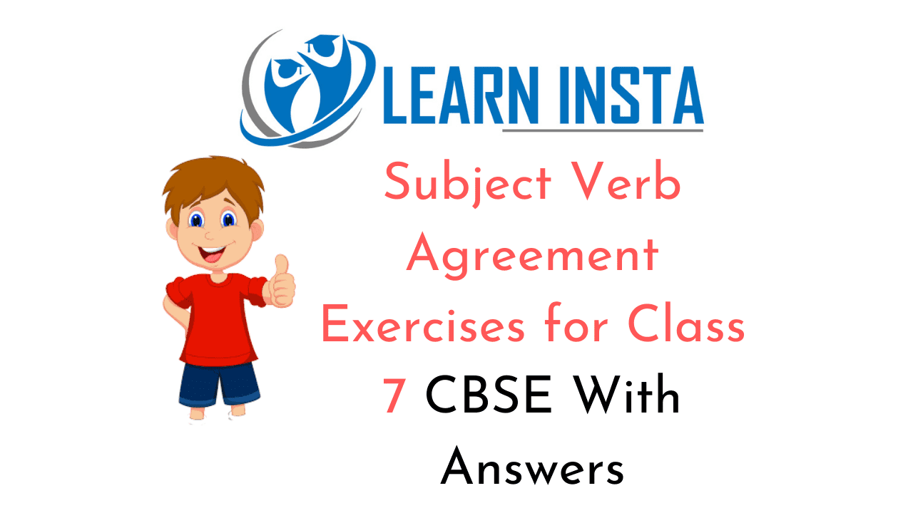 hight resolution of Subject Verb Agreement Exercises for Class 7 CBSE With Answers