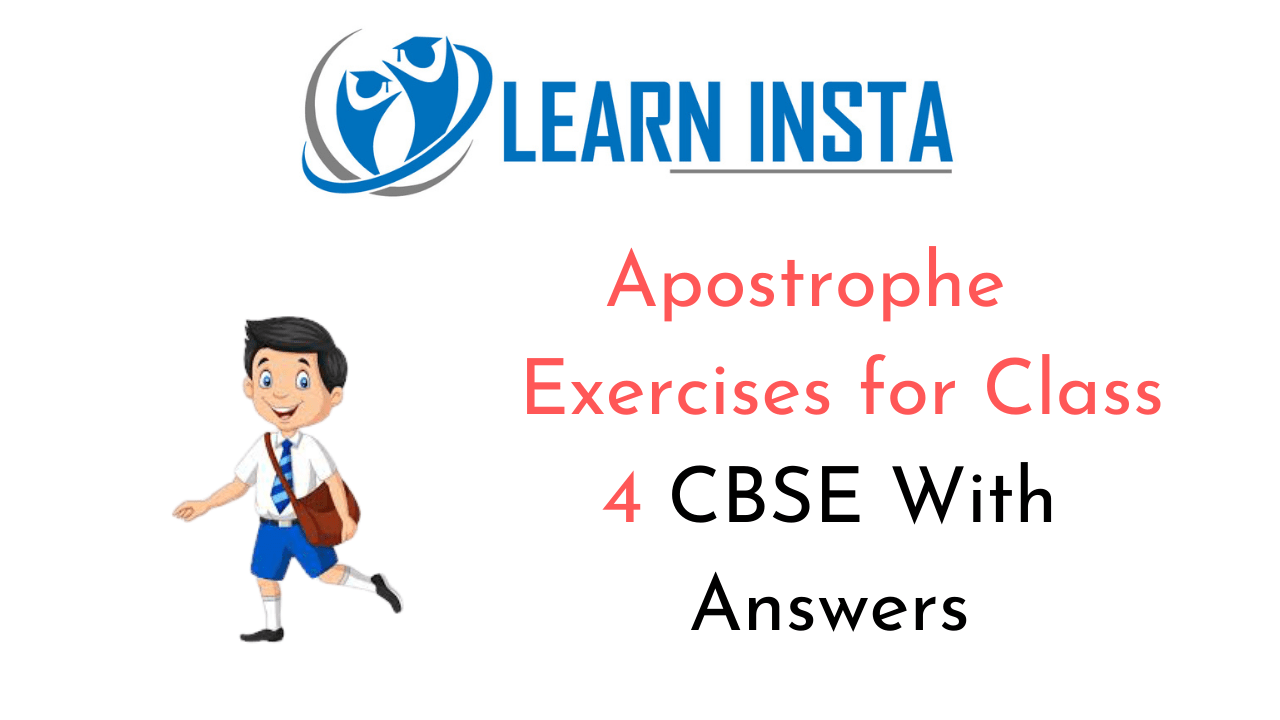 hight resolution of Apostrophe Exercise for Class 4 CBSE With Answers