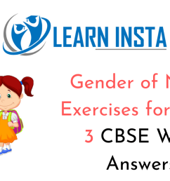 Gender of Nouns Worksheet Exercises for Class 3 CBSE with Answers [ 720 x 1280 Pixel ]