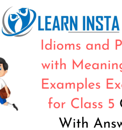Idioms and Phrases with Meanings and Examples for Class 5 CBSE Exercises [ 720 x 1280 Pixel ]
