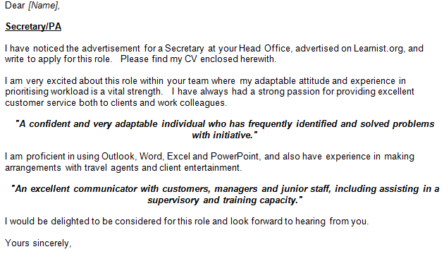 Secretary  PA Job Application and Cover Letter Example