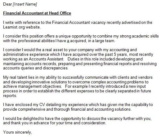 Accountant cover letter example for job applications for Cover letter for financial accountant job application