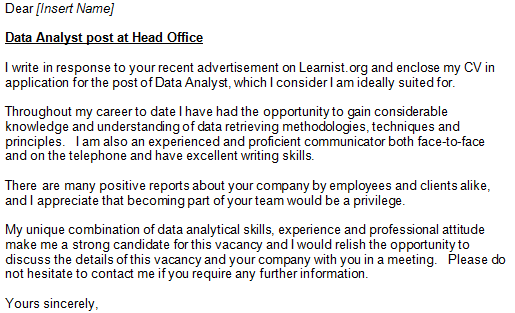 Data Analyst Cover Letter Example Learnist Org