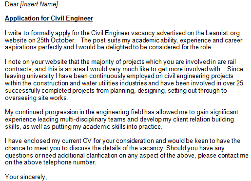 Civil Engineer Cover Letter Example Learnist Org